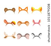cute cartoon animal ears  set... | Shutterstock .eps vector #1011879208