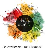 smoothie. watercolor vector... | Shutterstock .eps vector #1011880009