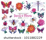 set of insects and flowers... | Shutterstock .eps vector #1011882229