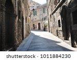 medieval street in the italian...   Shutterstock . vector #1011884230