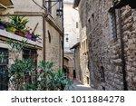medieval street in the italian...   Shutterstock . vector #1011884278