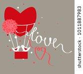 valentine's day card.  vector... | Shutterstock .eps vector #1011887983