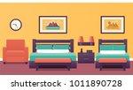 hotel room in flat design....   Shutterstock .eps vector #1011890728