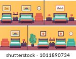 hotel rooms in flat design. set ... | Shutterstock .eps vector #1011890734