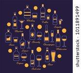 alcohol beverages set in line...   Shutterstock .eps vector #1011891499