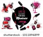 nail polish bottles banner... | Shutterstock .eps vector #1011896899