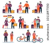 set of young couple travelling. ... | Shutterstock .eps vector #1011897550