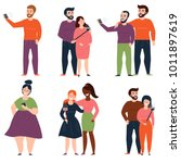 young people and couples are... | Shutterstock .eps vector #1011897619