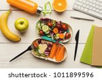 healthy snack at office... | Shutterstock . vector #1011899596