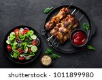 grilled meat skewers  shish... | Shutterstock . vector #1011899980