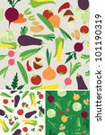 vegetable seamless  patterns | Shutterstock . vector #101190319