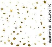 3d star falling print. gold... | Shutterstock .eps vector #1011906490