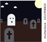 little ghost flying at the... | Shutterstock .eps vector #1011908824