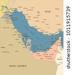 persian gulf map   vintage... | Shutterstock .eps vector #1011915739
