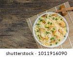 top view of garlic fried rice...   Shutterstock . vector #1011916090
