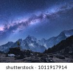 space with milky way and... | Shutterstock . vector #1011917914