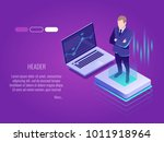 businessman is standing on the... | Shutterstock .eps vector #1011918964