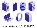 big collection of it devices... | Shutterstock .eps vector #1011918970