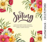 spring floral card | Shutterstock .eps vector #1011929080