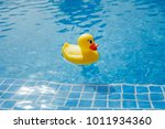 yellow rubber duck in blue... | Shutterstock . vector #1011934360