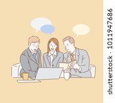 partners discussing documents... | Shutterstock .eps vector #1011947686