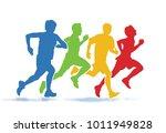 running men. colorful group of... | Shutterstock .eps vector #1011949828