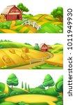 farm and nature. landscape... | Shutterstock .eps vector #1011949930