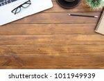 flat lay of top view desk work... | Shutterstock . vector #1011949939