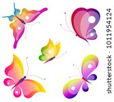 beautiful color butterflies set ... | Shutterstock .eps vector #1011954124