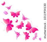 beautiful pink butterflies ...   Shutterstock .eps vector #1011954130