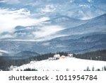 high mountain ski resort with... | Shutterstock . vector #1011954784