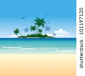 Stock vector tropical island with palm trees 101197120