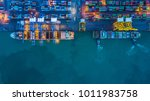 aerial view of container cargo...   Shutterstock . vector #1011983758