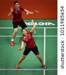 Small photo of KUALA LUMPUR, MALAYSIA - JANUARY 21, 2018 : Tan Chun Man and Tse Ting Suet of Hong Kong Men's Double during the Perodua Malaysia Masters 2018 at Axiata Arena, Bukit Jalil.
