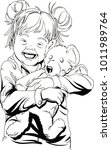 little girl hugging teddy bear... | Shutterstock .eps vector #1011989764