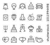 wedding thin line icons 2018 | Shutterstock .eps vector #1011994498