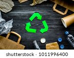 eco friendly life. green paper... | Shutterstock . vector #1011996400
