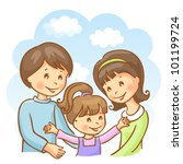 happy family on the sky... | Shutterstock .eps vector #101199724