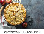 apple pie with hearts shaped... | Shutterstock . vector #1012001440