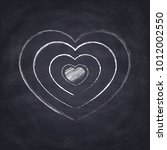 chalk drawn heart. hand drawn... | Shutterstock .eps vector #1012002550