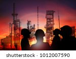 double exposure of engineer... | Shutterstock . vector #1012007590