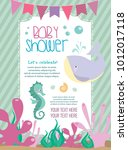 baby shower card with cartoon... | Shutterstock .eps vector #1012017118