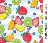 seamless fresh fruits pattern... | Shutterstock .eps vector #1012018378