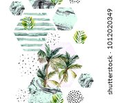abstract watercolor tropical... | Shutterstock . vector #1012020349