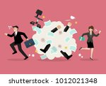 office workers scuffling at work | Shutterstock .eps vector #1012021348