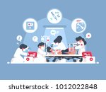 emergency first aid. group of... | Shutterstock .eps vector #1012022848
