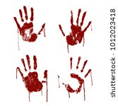 red bloody scary hands imprint... | Shutterstock .eps vector #1012023418