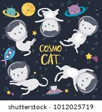 Stock vector fun cat astronaut in space vector cartoon charters editable vector illustration 1012025719