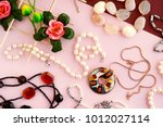 jewelry in the form of pearls.... | Shutterstock . vector #1012027114