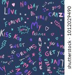 hand drawn wording pattern and... | Shutterstock .eps vector #1012029490